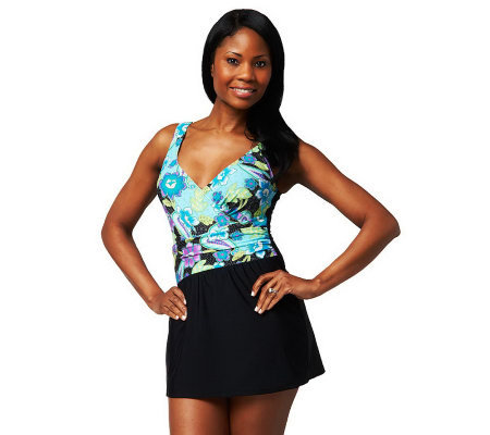 Ocean Dream Signature Mardi Gras Time Wrap Swim Dress