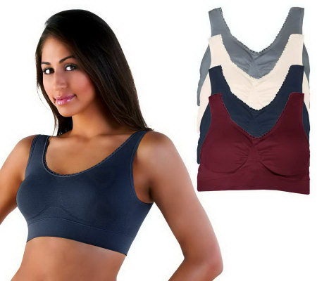 Genie Bra Seamless Bras w/ Lace Trim & Modesty Pads Set of 4