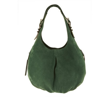 B. Makowsky Suede Hobo Bag with Zipper Pockets and Buckle Detail