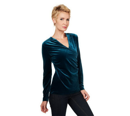 Susan Graver Stretch Velvet Surplice Wrap Top with Long Sleeves
