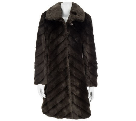 Dennis Basso Diagonal Pelted Faux Mink Fur Coat w/Hook Closures