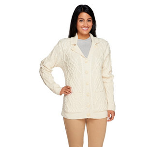 Aran Craft Merino Wool Button V-Neck Cardigan w/ Pockets - A231189