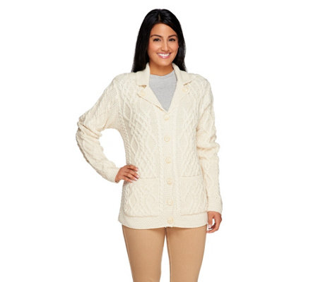 Aran Craft Merino Wool Button V-Neck Cardigan w/ Pockets