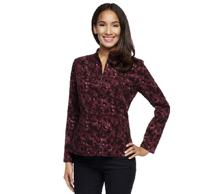 Susan Graver Corduroy Printed Zip Front Jacket w/ Pockets