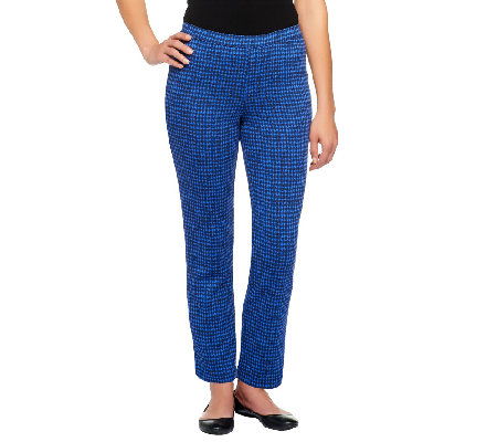 Isaac Mizrahi Live! Houndstooth Ponte Knit Pull-On Pants