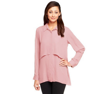 Joan Rivers Button Front Layered Boyfriend Shirt - A239589