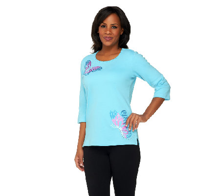 Quacker Factory Butterfly Away 3/4 Sleeve T-shirt
