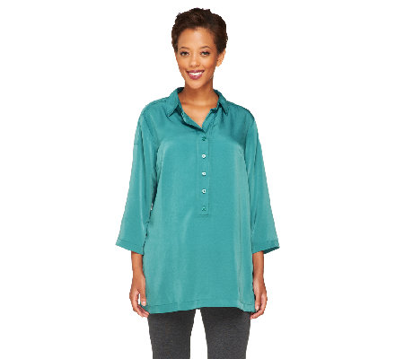 Linea by Louis Dell'Olio Faux Washed Silk Tunic