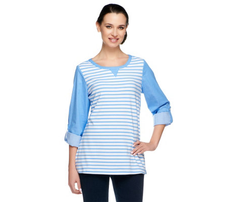 Denim & Co. Stretch Chambray Top with Striped Knit Front