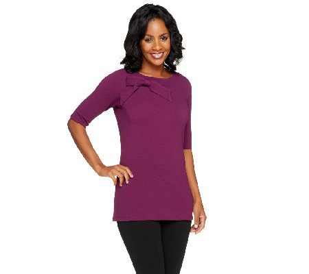 George Simonton Knit Pique Top with Bow Detail
