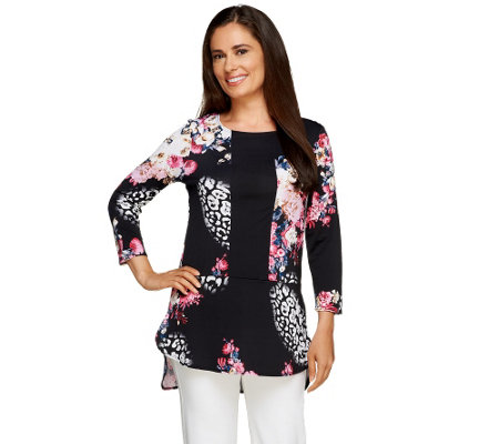 Attitudes by Renee Printed Hi-Low Hem Tunic w/ Solid Insert
