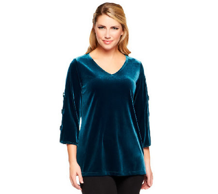 """As Is"" Susan Graver Knit Velvet Top with Sequin Split 3/4 Sleeves"