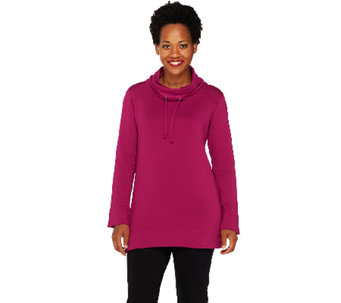 Susan Graver Weekend Brushed Back Knit Cowl Neck Tunic Pullover - A259589