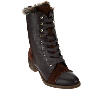 Aimee Kestenberg Leather Lace-up Faux Fur Boots - Leilani - A260689