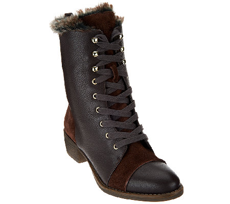 Aimee Kestenberg Leather Lace-up Faux Fur Boots - Leilani
