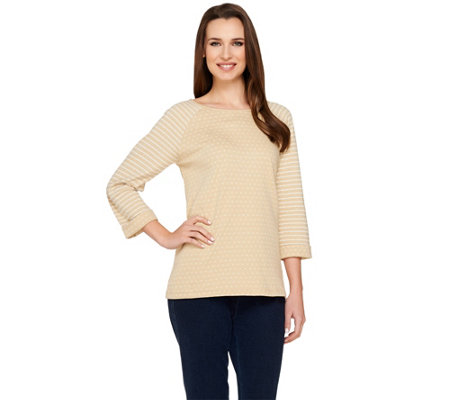 Denim & Co. Dot and Stripe Knit 3/4 Sleeve Top