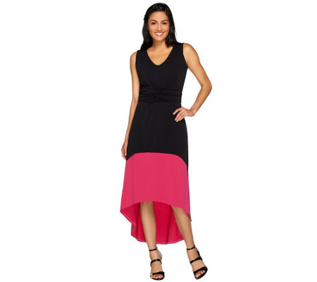 Kelly by Clinton Kelly Petite Hi-Low Hem Color Block Dress