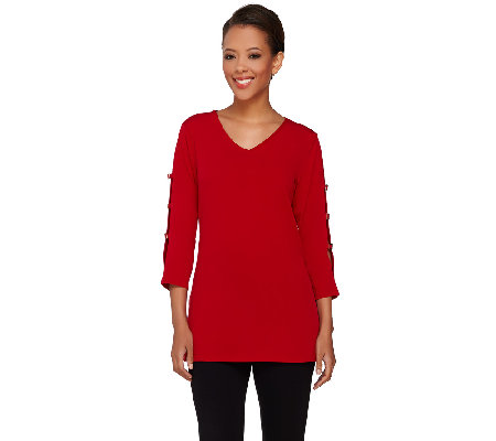 Susan Graver Liquid Knit Tunic with Split Sleeve Detail