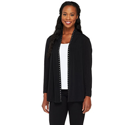"""As Is"" Susan Graver Liquid Knit Long Sleeve Cardigan"