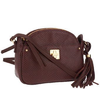 """As Is"" Isaac Mizrahi Live! Bridgehampton Leather Snake Crossbody - A267089"