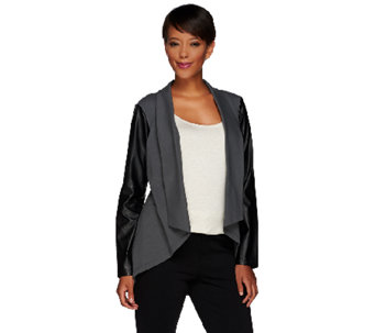 Women with Control Knit Jacket with Faux Leather Sleeves - A267389