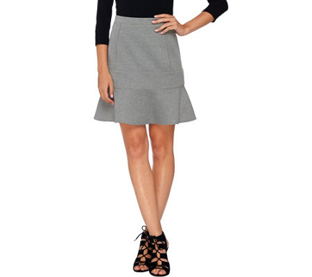 Whitney Port Fit and Flare Scuba Knit Skirt with Seaming Details