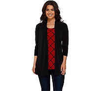 Susan Graver Liquid Knit 3/4 Sleeve Cardigan with Printed Tank - A267989