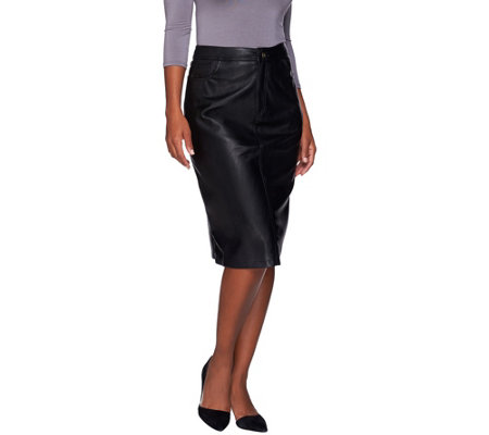 Denim & Co. Mid Length Faux Leather Boot Skirt