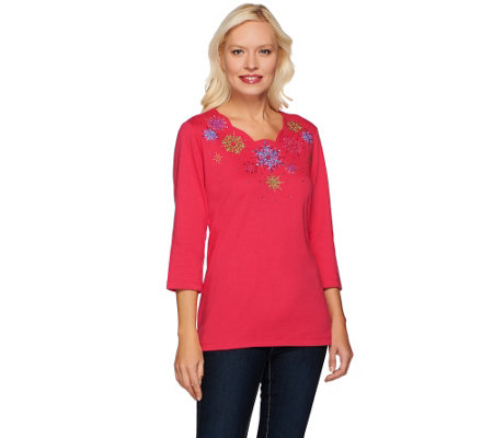 Quacker Factory Scalloped Snowflake Embroidered 3/4 Sleeve Top