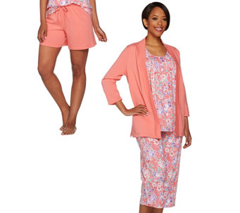 Carole Hochman Floral Batik French Terry 4-Piece Pajama Set - A273589