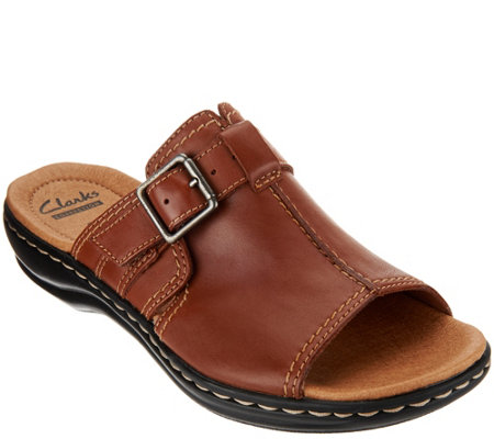 Clarks Leather Slip-on Sandals with Buckle Detail - Leisa Gianna