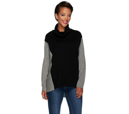 """As Is"" Susan Graver Plush Knit Colorblock Turtleneck Sweater"