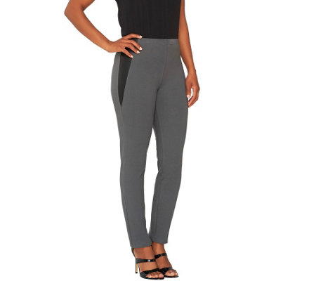 """As Is"" Women with Control Slim Leg Knit Pants with Faux Leather Detail"