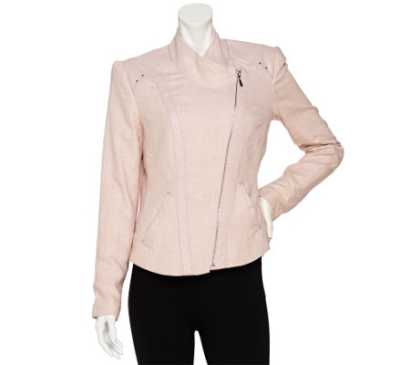 """As Is"" Mark of Style by Mark Zunino Linen Jacket with Faux Leather"