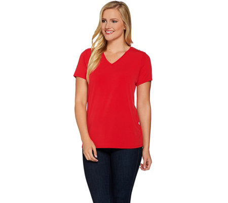 Susan Graver Liquid Knit Short Sleeve V-Neck Top with Button Trim
