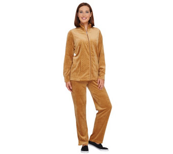 """As Is"" Quacker Factory Regular Velour Jacket & Pants Set - A278089"