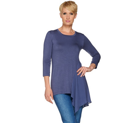 LOGO by Lori Goldstein Knit Top with Woven Side Godet