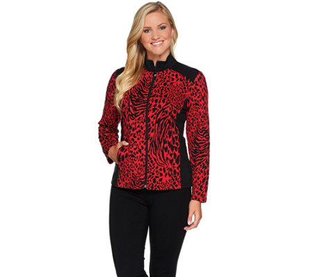 Susan Graver Weekend Jacquard Knit Jacket w/French Terry Trim