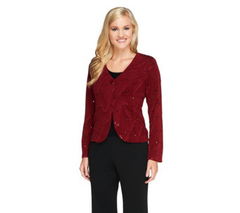 """As Is"" Bob Mackie's Textured Button Front Jacket w/Sequin Detail - A280589"