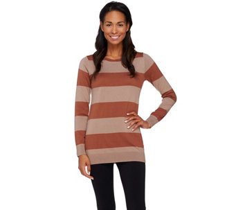 """As Is"" LOGO by Lori Goldstein Cotton Cashmere Striped Sweater with Chiffon - A283589"