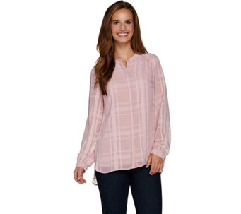 Isaac Mizrahi Live! Plaid Chiffon Button Front Tunic - A283789