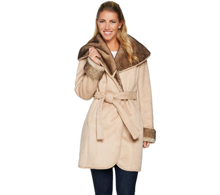 G.I.L.I Faux Shearling Collar Coat
