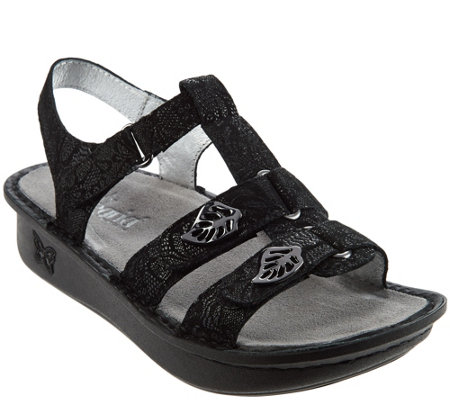 """As Is"" Alegria Leather Multi- Strap Sandals w/ Backstrap - Kleo"