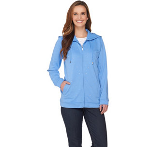 Quacker Factory Rhinestone French Terry Zip Front Hoodie - A285189