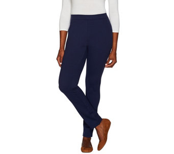 Denim & Co. Petite Ponte Knit Pants with Seaming Detail - A285589
