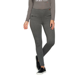 Peace Love World Ponte Knit Leggings with Zipper Detail - A285689