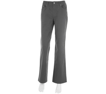 """As Is"" Women with Control Brushed Twill Fly Front Petite Pants"