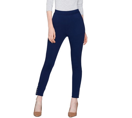 Lisa Rinna Collection Knit Leggings With AnkleSnap Detail