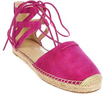"""As Is"" Marc Fisher Leather Lace-up Espadrilles - Misses - A288289"