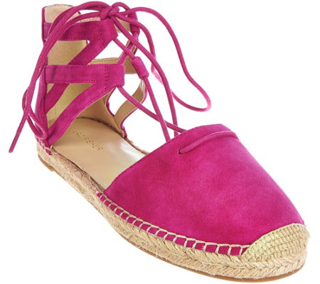 """As Is"" Marc Fisher Leather Lace-up Espadrilles - Misses"